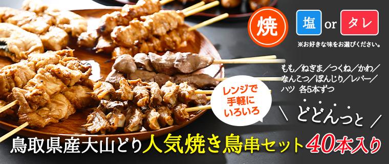 大山どり人気焼き鳥串セット40本セット【焼きタイプ】