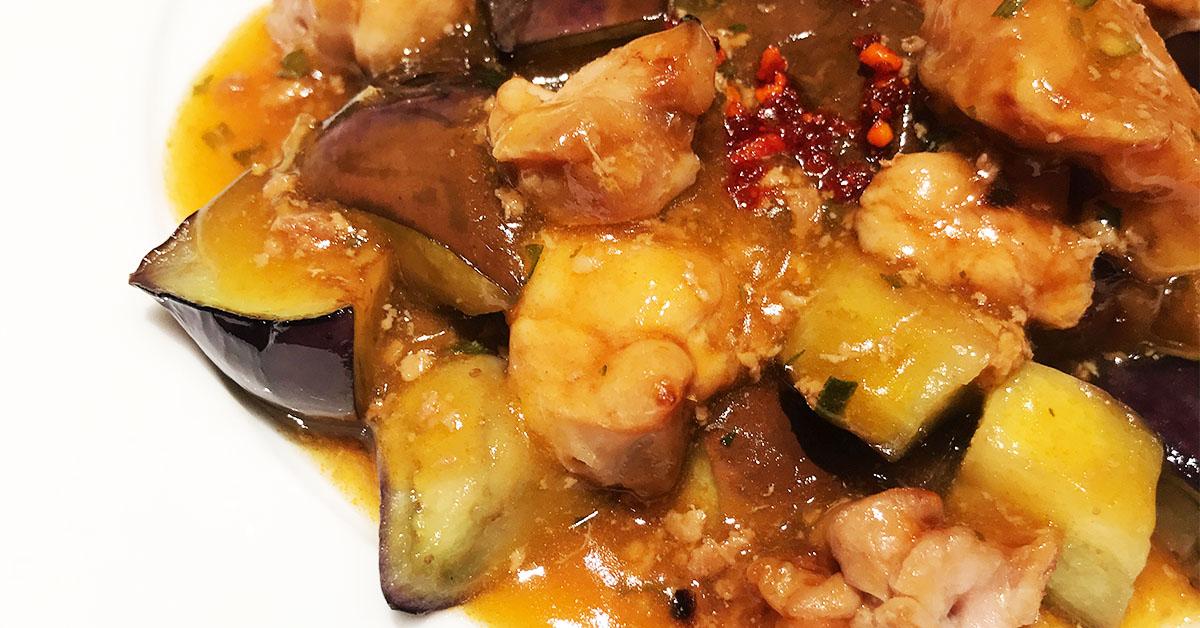 焼き鳥もも串のアレンジレシピ・即席麻婆茄子