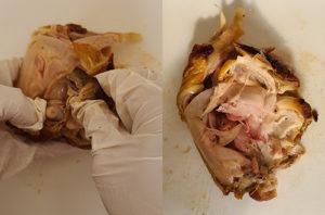 6.「もも」の中の細かい骨を抜いていきます。骨がすべて抜けると「もも」の肉だけになります。